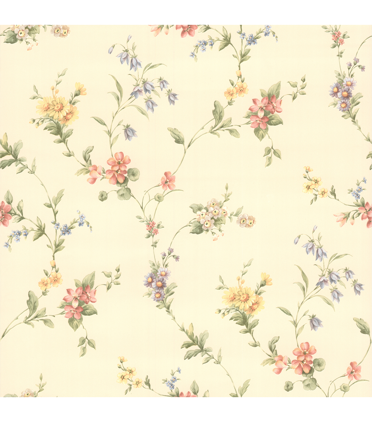 Suzanne Taupe Floral Trail Wallpaper Sample