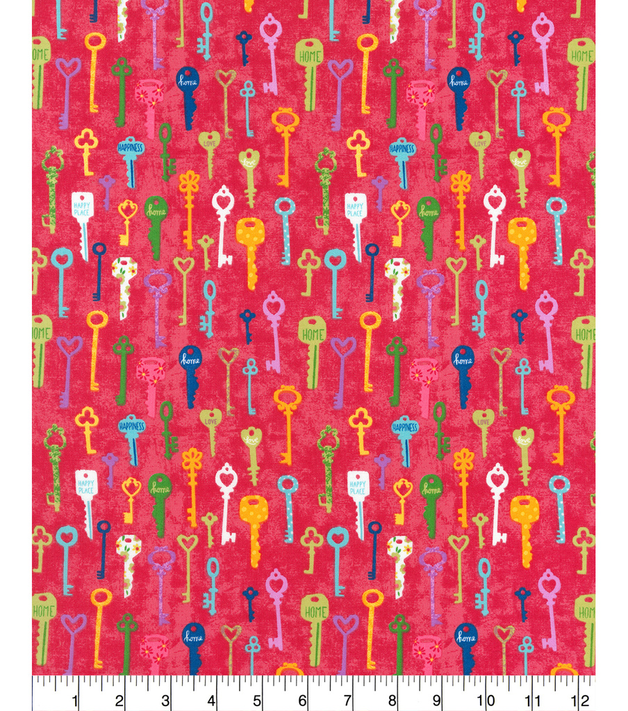 Novelty Cotton Fabric -Keys Berry