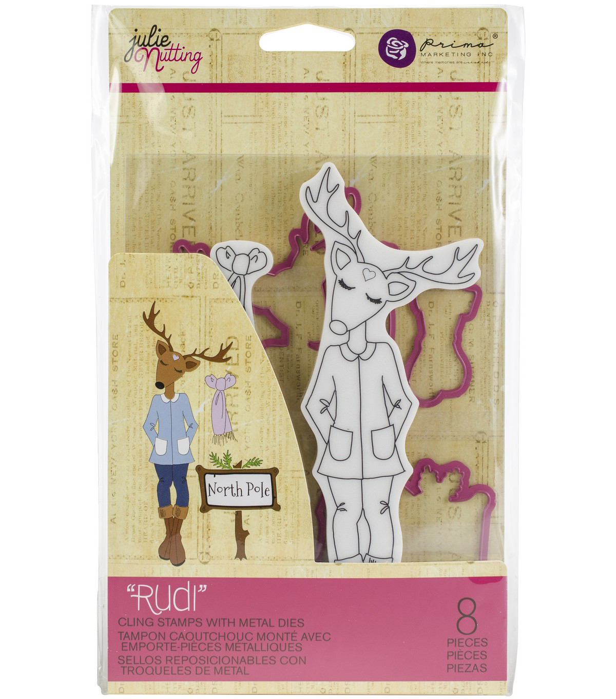 Julie Nutting 8 pk Cling Stamps with Metal Dies-Rudi