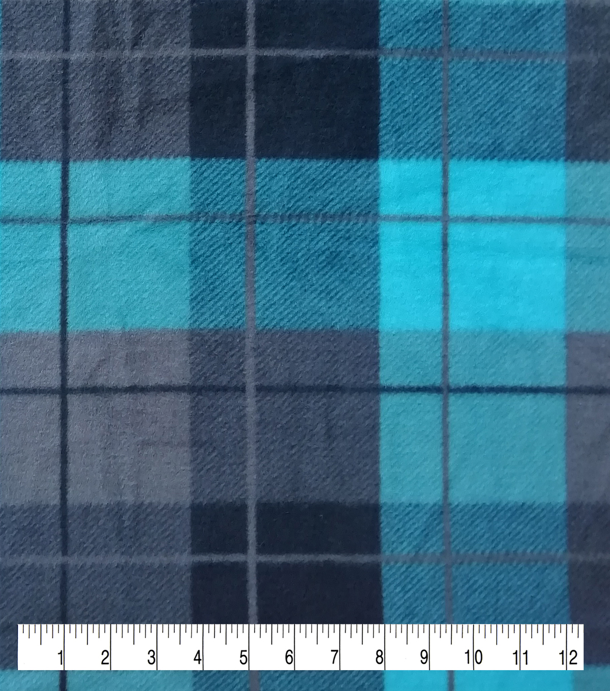 Anti-Pill Plush Fleece Fabric-Cole Teal Black Plaid