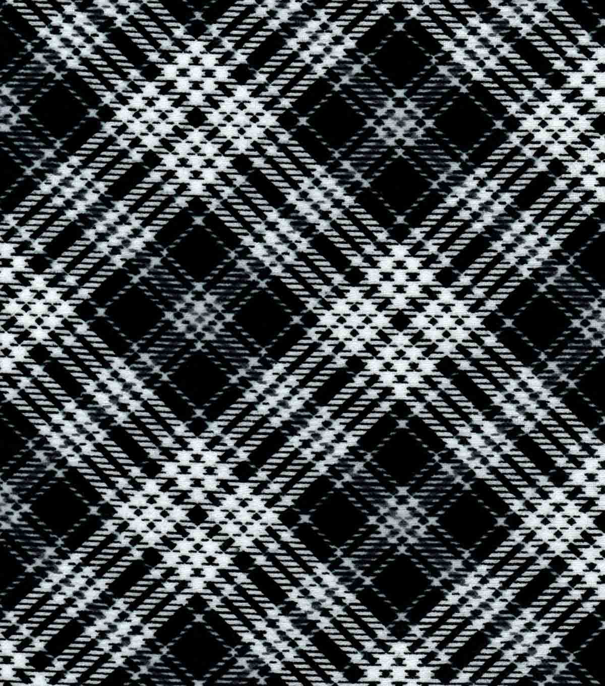 Nursery Flannel Fabric -Black & White Logan Plaid