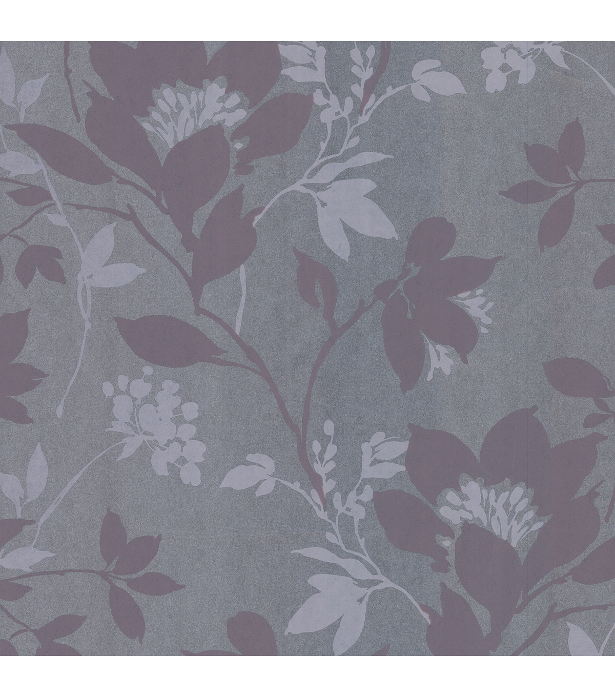Carina Silver Silhouette Floral Wallpaper Sample