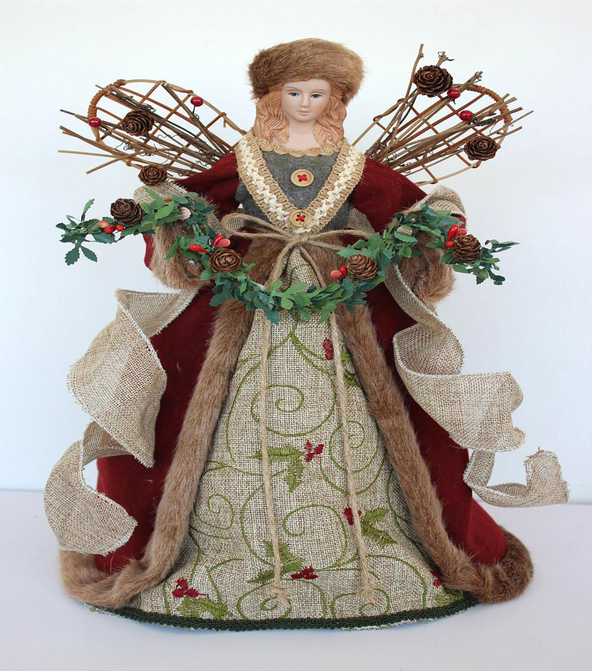 Maker\u0027s Holiday Christmas 16\u0027\u0027 Rustic Wood Wing Angel Tree Topper