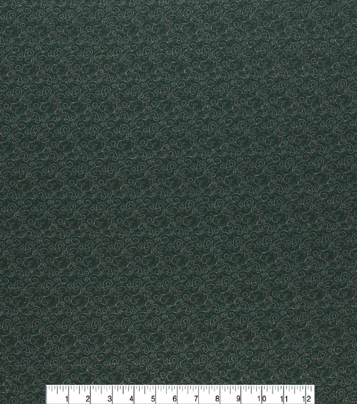Christmas Cotton Fabric-Micro Holly Green Glitter