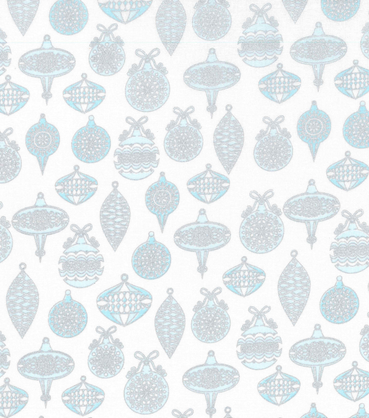 Christmas Cotton Fabric-Blue Metallic Scroll & Ornaments