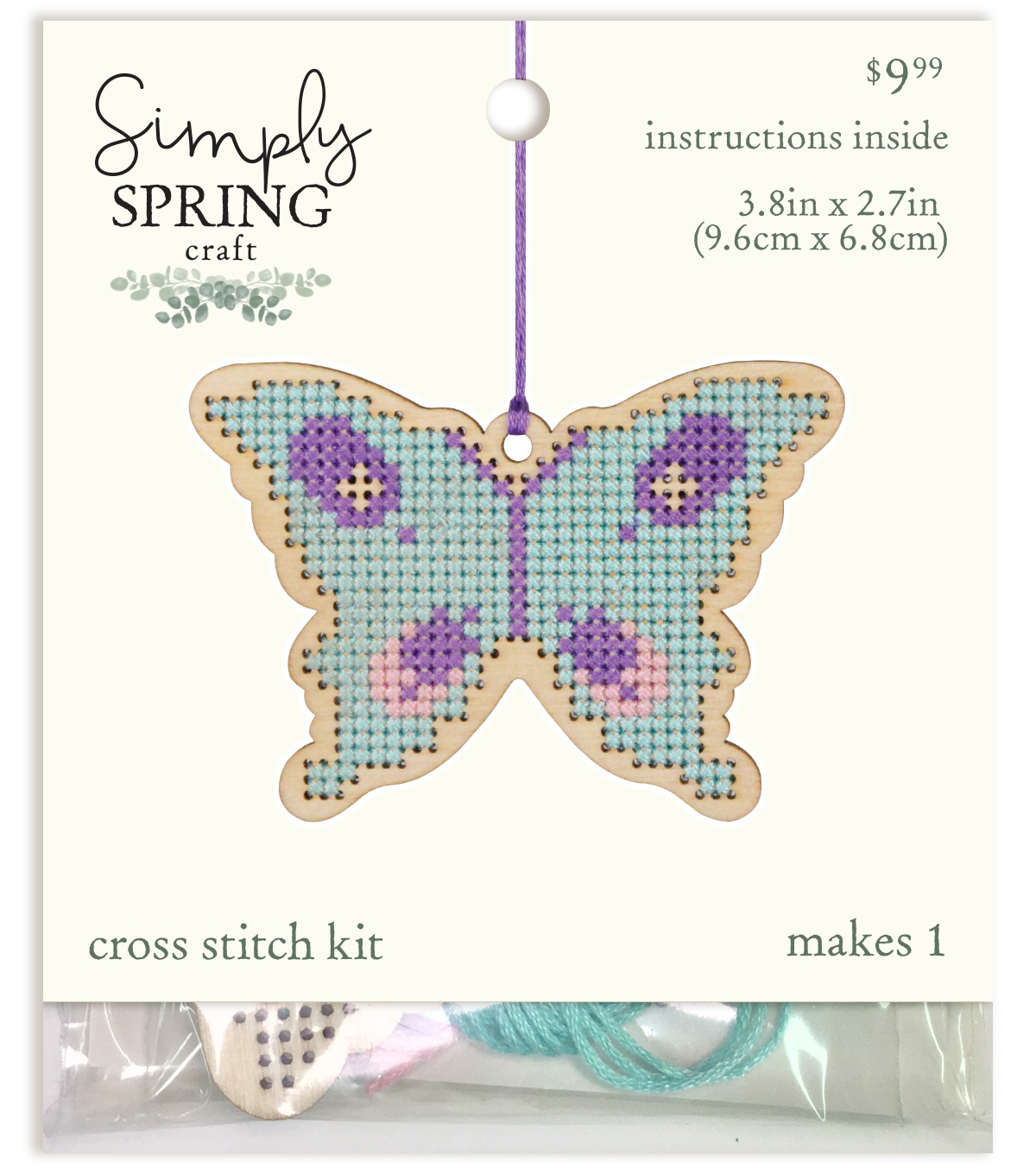 Simply Spring Craft Wood Stitch Kit-Spring Butterfly