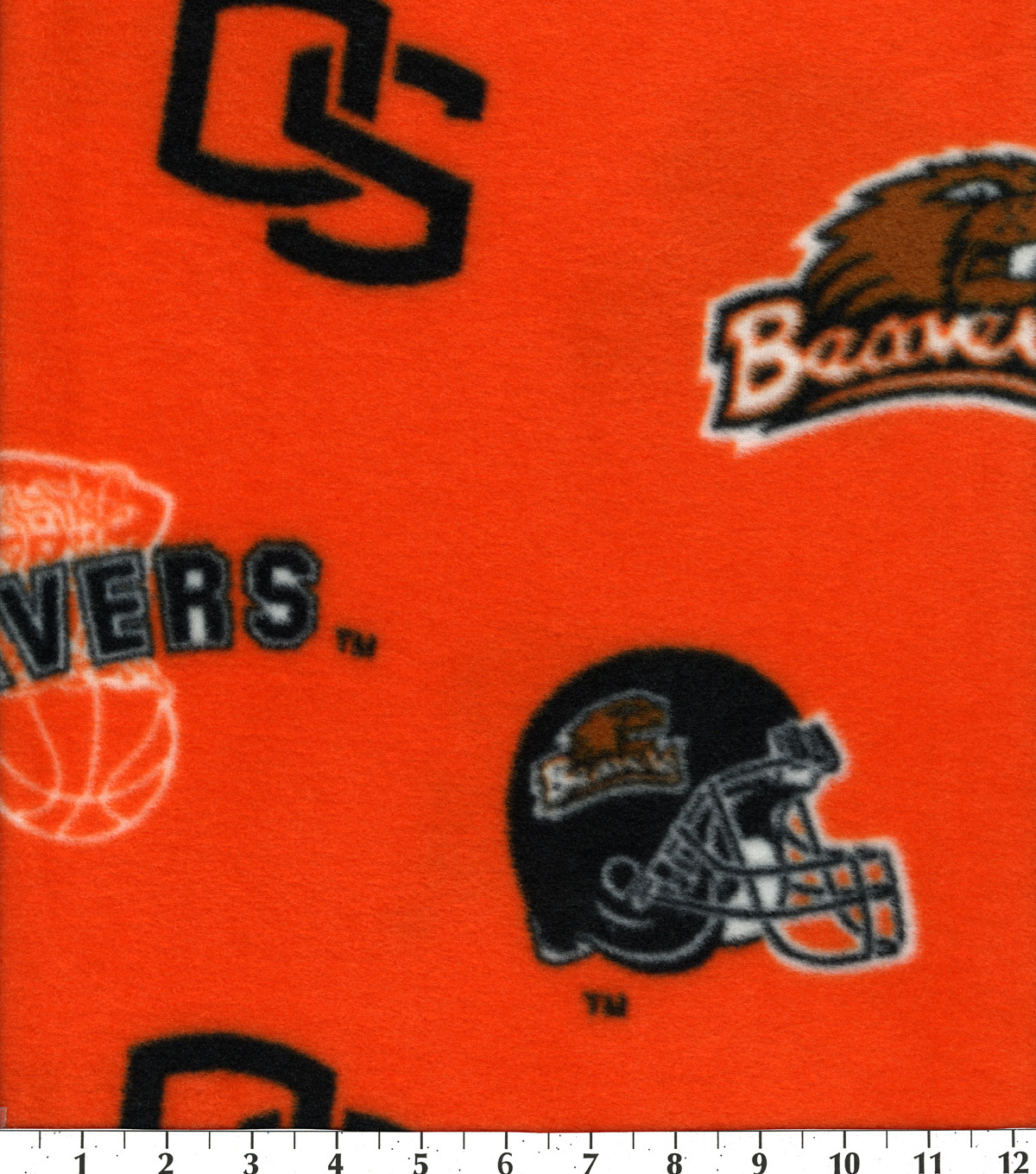 Oregon State University Beavers Fleece Fabric 58\u0022-Allover