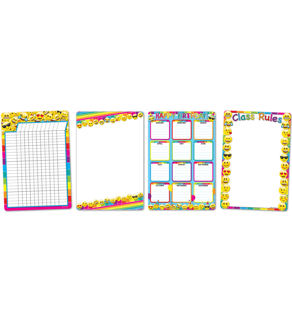 Smart Poly Emoji Classroom Charts 13\u0022x19\u0022 Set of 11