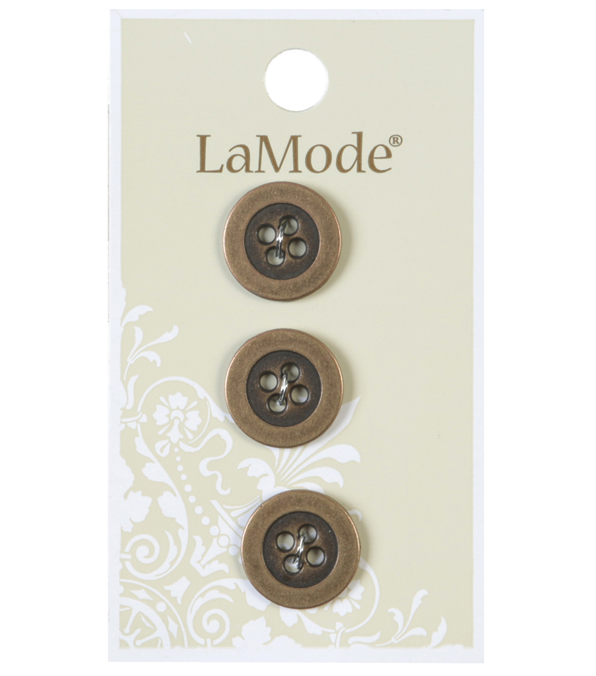 LaMode 4 Hole Antique Gold Metal Buttons 16mm