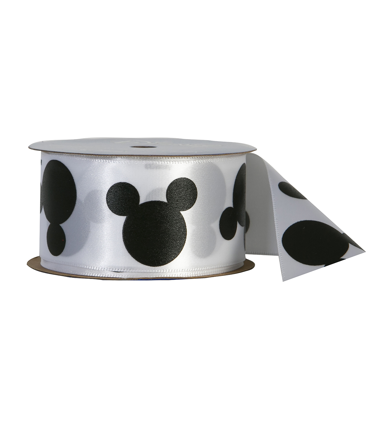 Offray 1.5\u0022x9\u0027 Mickey Character Single Faced Satin Ribbon-Black and White