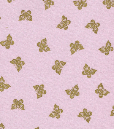 Keepsake Calico Cotton Fabric -Butterflies Pink with Gold Metallic