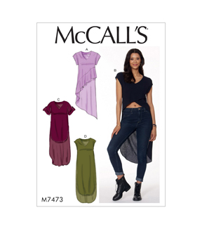McCall\u0027s Pattern M7473 Misses\u0027 V-Neck, High-Low Hem Tunics-Size 6-14