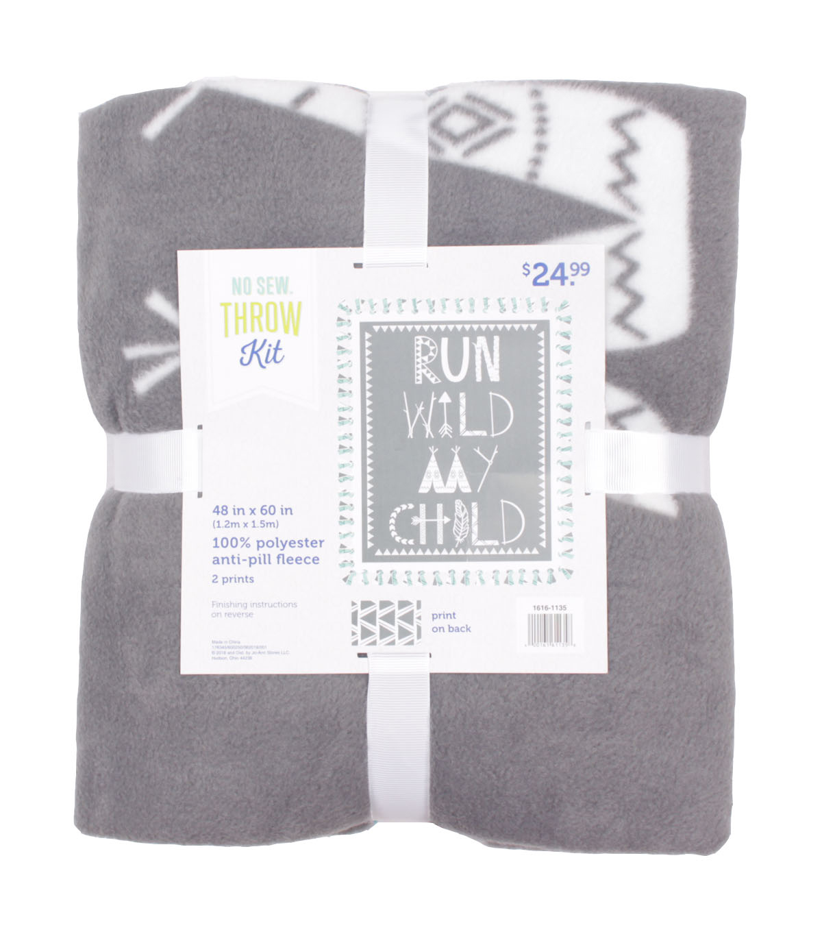 No Sew Fleece Throw 48\u0022-Run Wild My Child Geometric