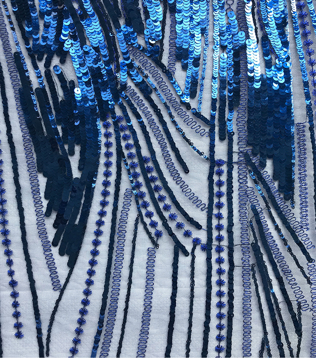 Gianna Linear Large Sequin Embroidered Fabric 56\u0027\u0027