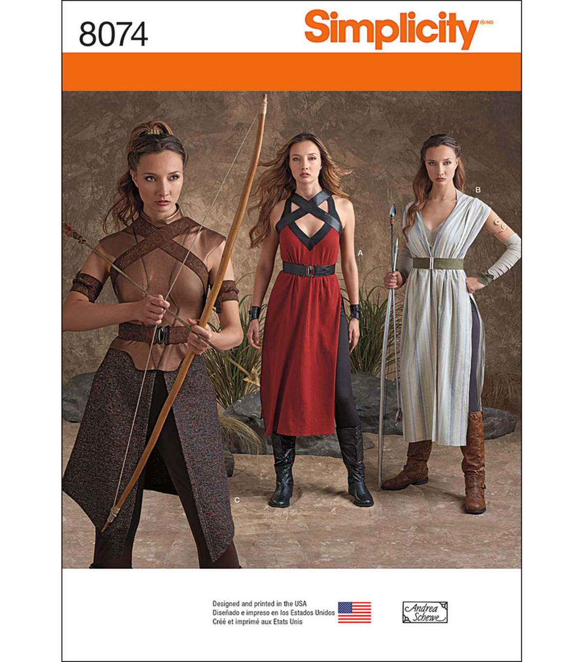 Simplicity Pattern 8074- Misses\u0027 Warrior Costumes, Sizes 14-16-18-20-22