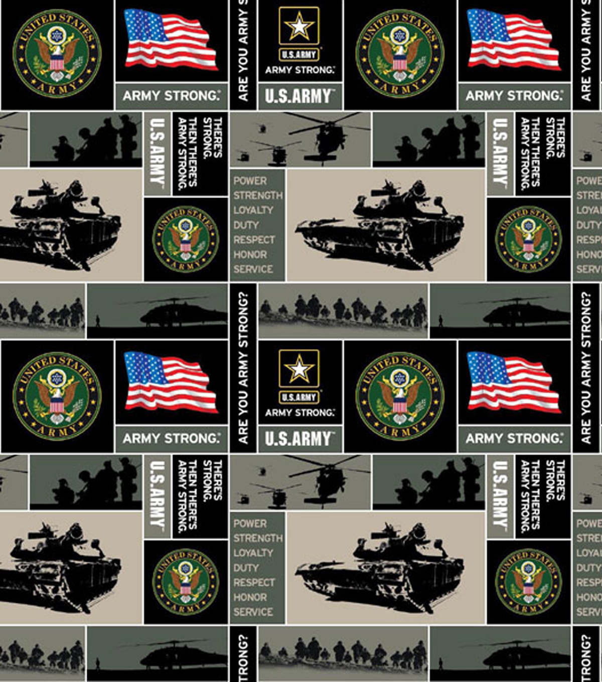 United States Army Fleece Fabric -Allover