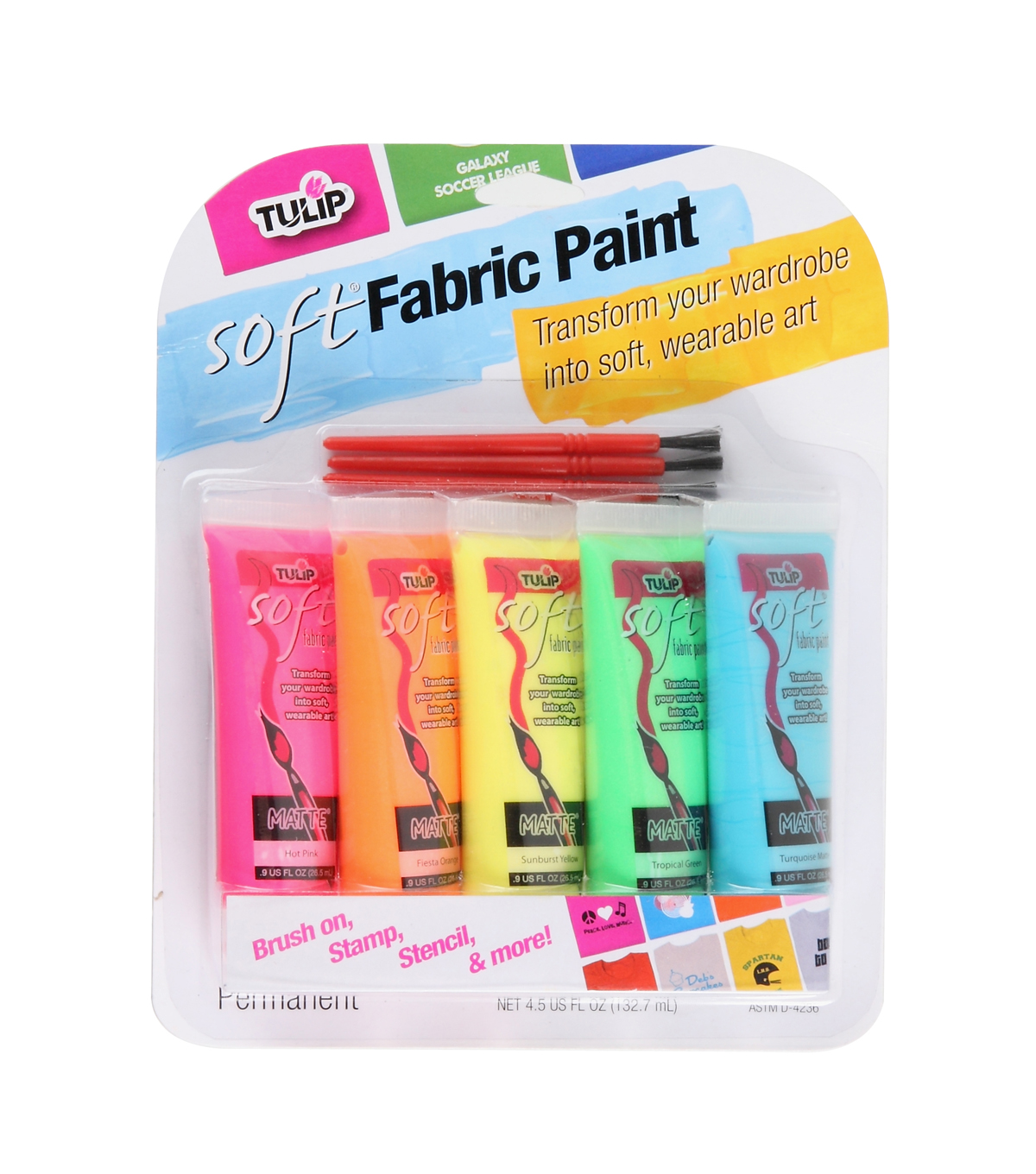 Tulip Soft Fabric Paint Neon 5PK