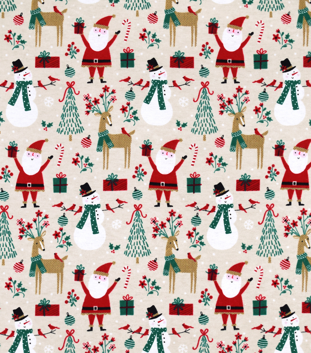Snuggle Flannel Fabric-Santa And Snowman On Tan