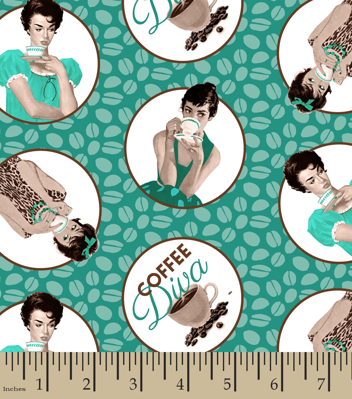 Novelty Cotton Fabric 43\u0027\u0027-Coffee Diva