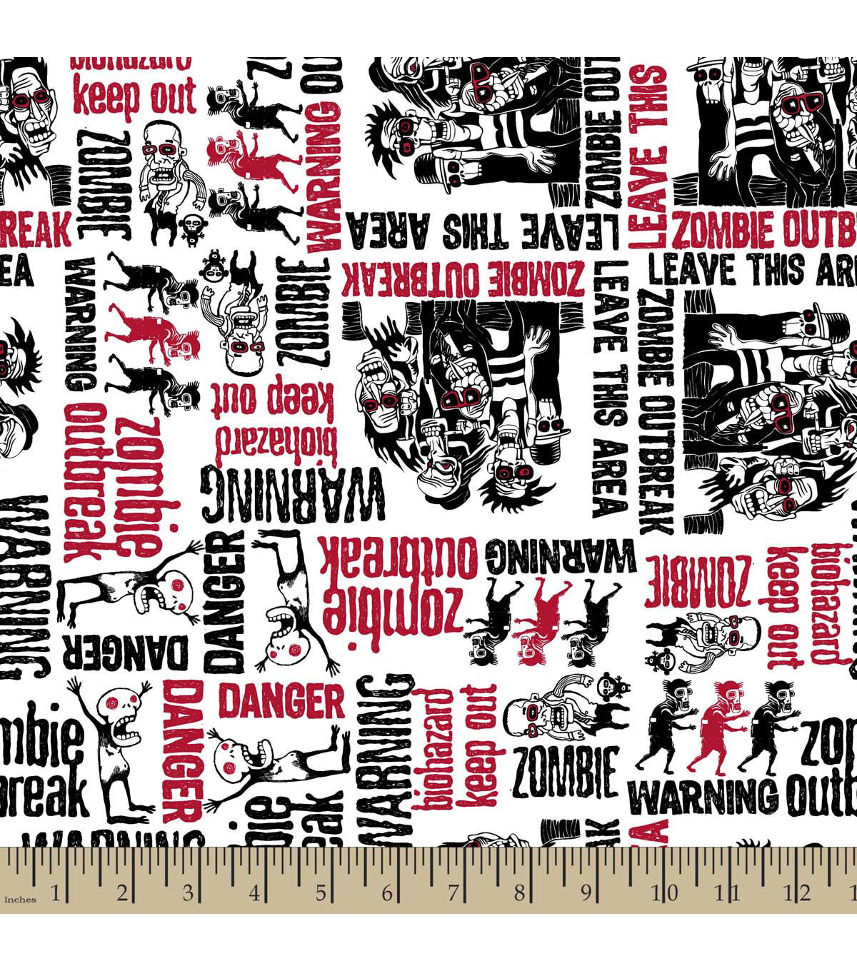 Snuggle Flannel Fabric -Zombies Dudes