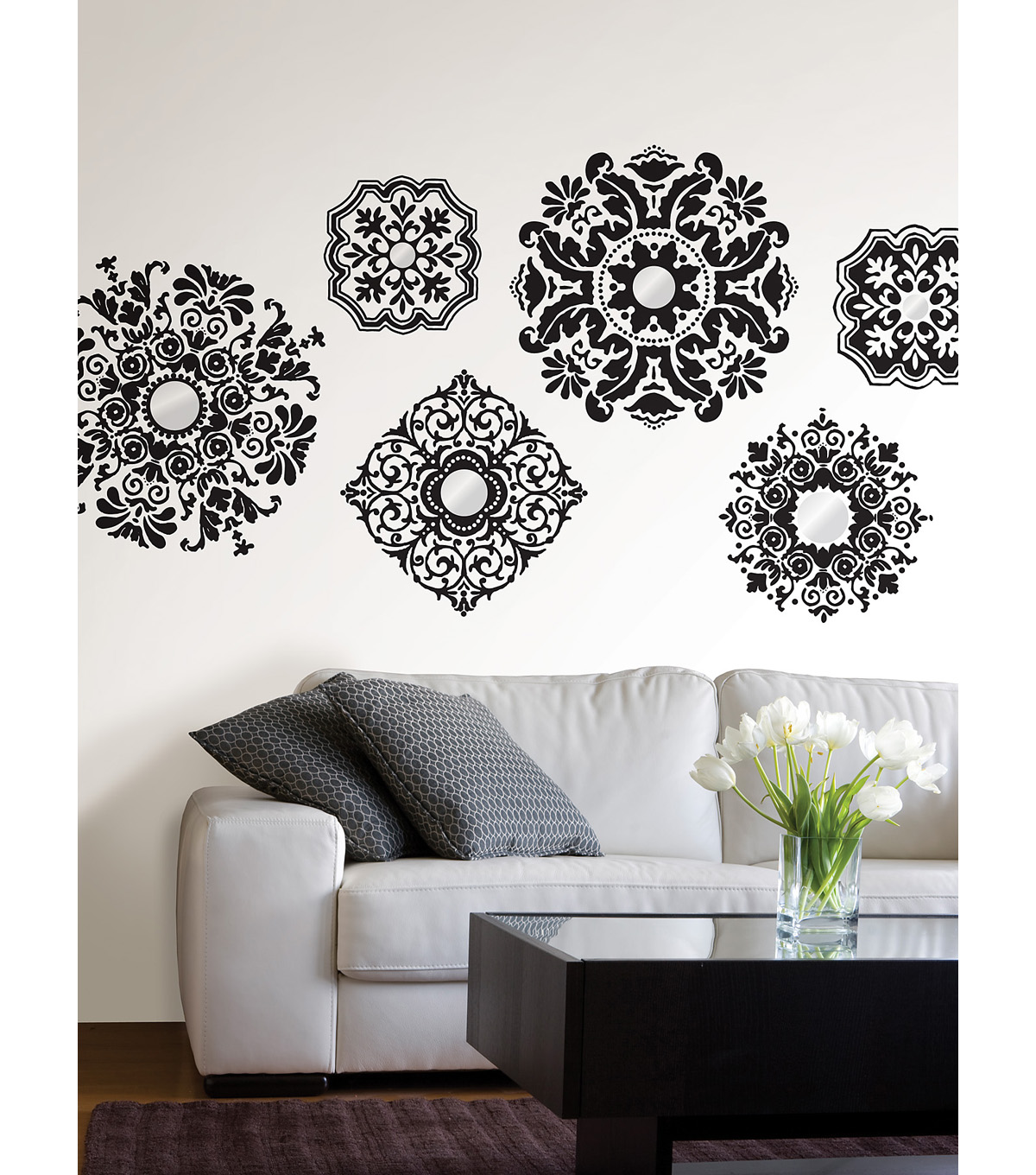 Wall Pops Baroque Mirrored Wall Art Decal Kit, 6 Piece Set
