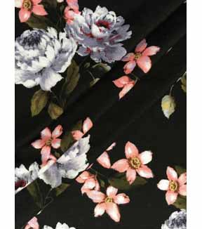Knit Fabric 57\u0027\u0027-Floral Garden on Black