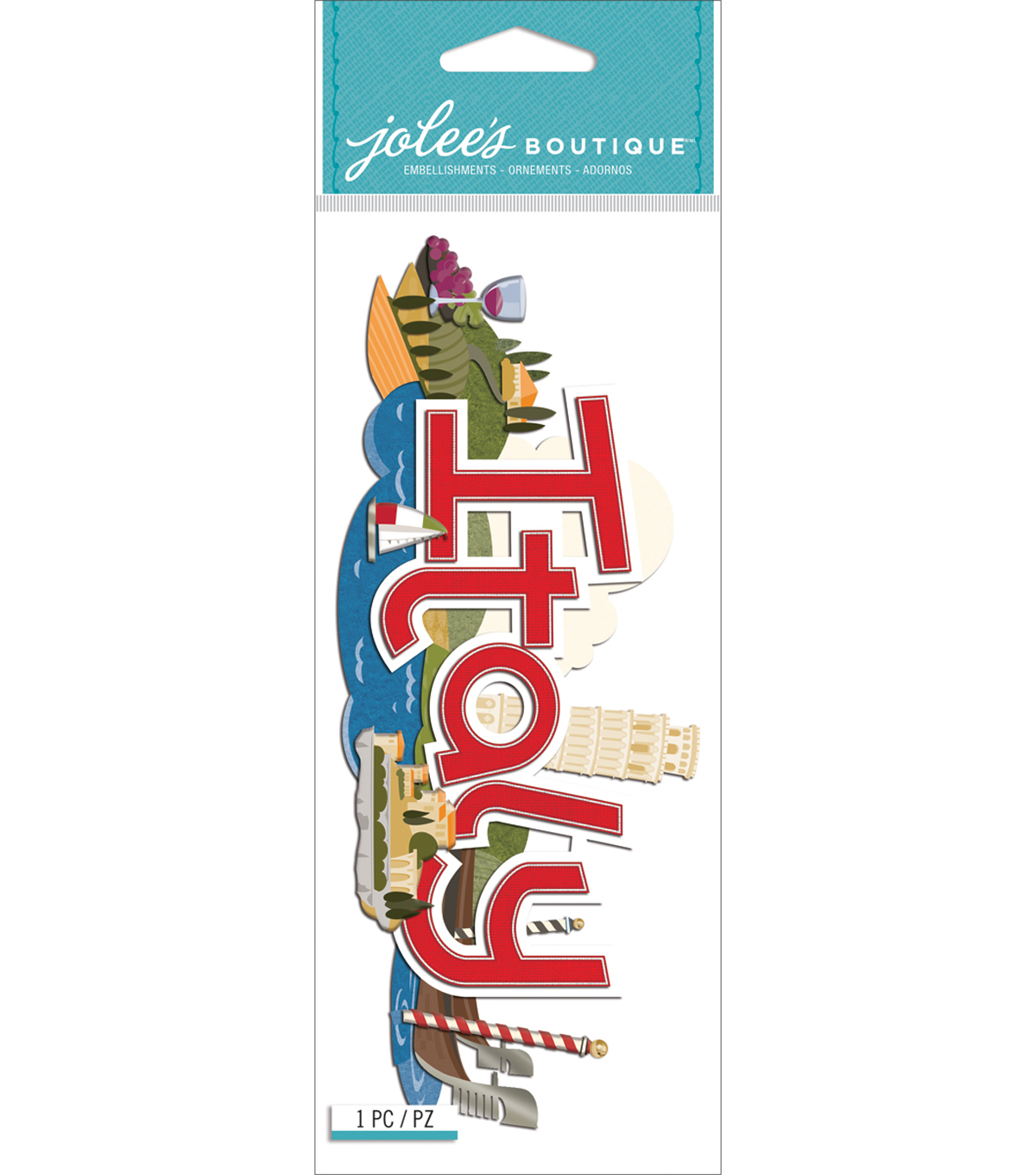 Jolee\u0027s Boutique Title Waves Dimensional Sticker-Italy
