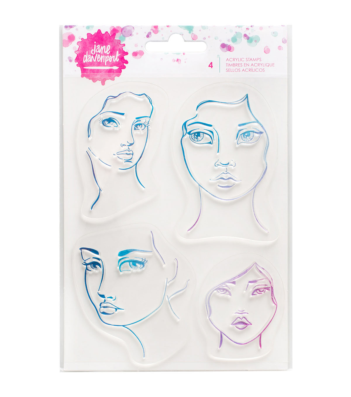 Jane Davenport 4 pk Mixed Media Acrylic Stamps-Faces