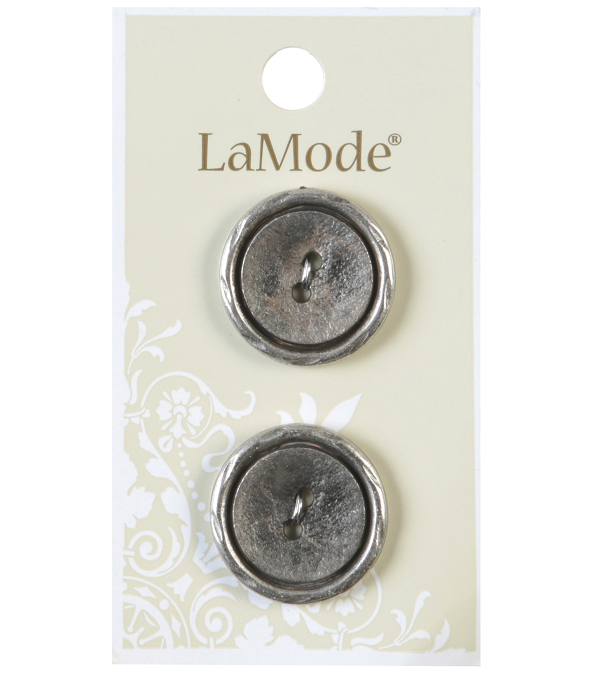 LaMode 2 Hole Antique Silver Metal Buttons 22mm