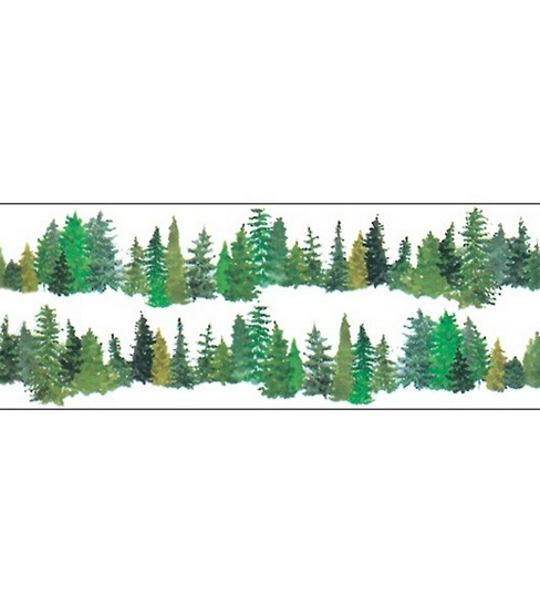 Borders Around Trees: Horizon Border Stickers 2/PK-Evergreen Trees