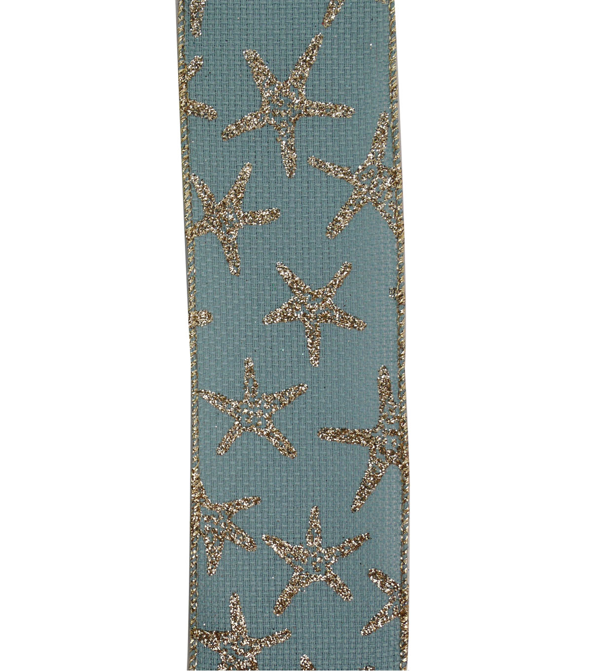 Maker\u0027s Holiday Christmas Ribbon 2.5\u0027\u0027x25\u0027-Glitter Starfishes on Blue