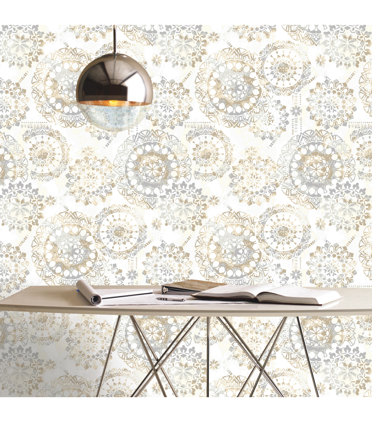 York Wallcoverings Wallpaper-Tan & Blue Bohemian