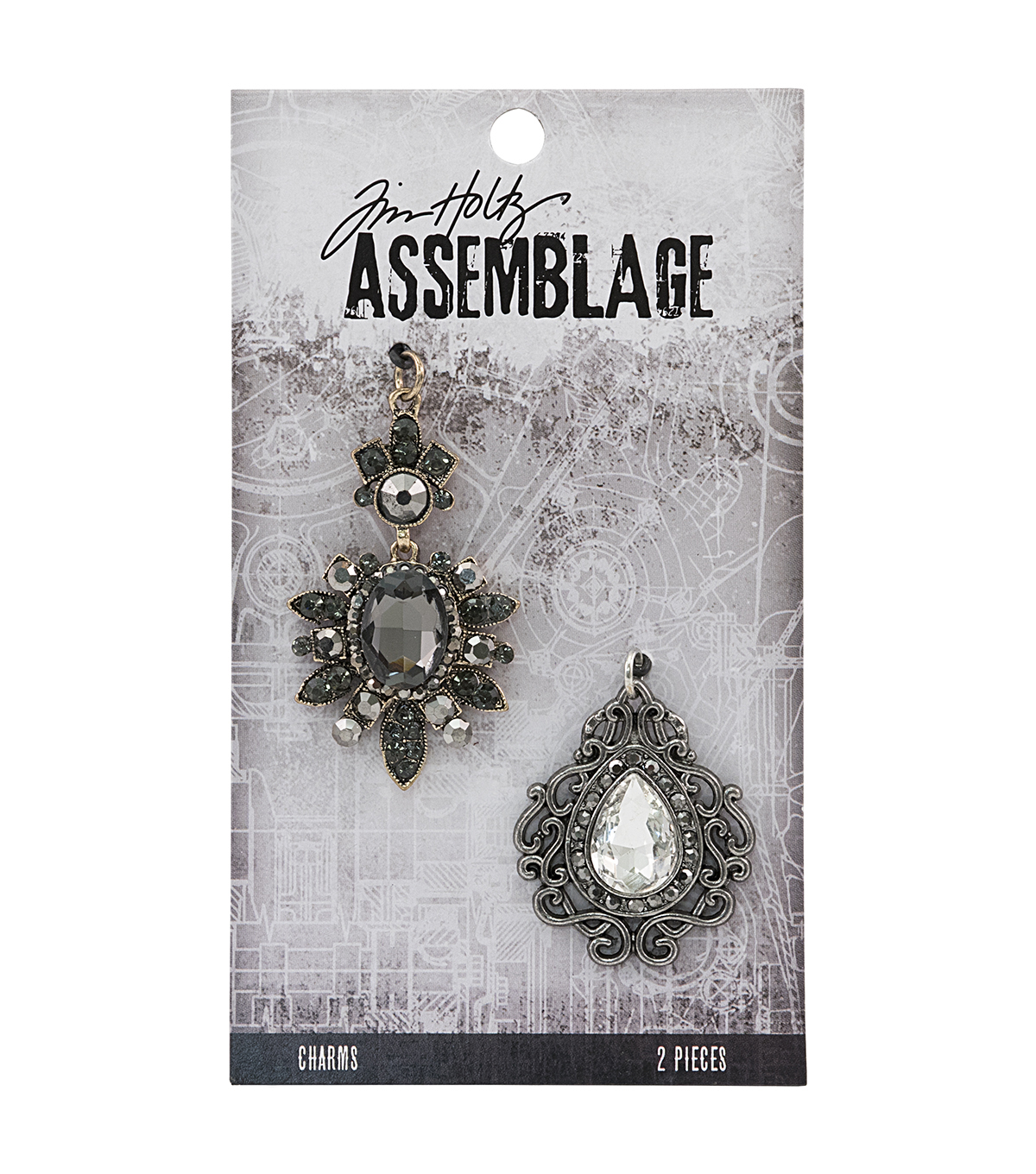 Tim Holtz Assemblage 2 Pack Baroqued Diamonds Charms