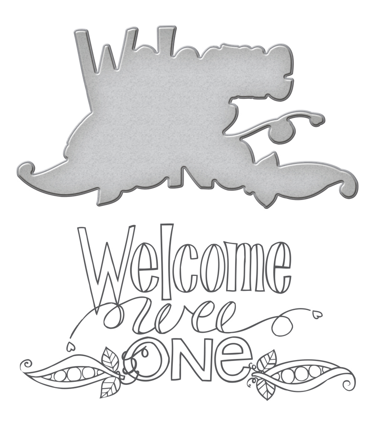 Spellbinders Happy Grams Stamp & Die Set-Welcome Wee One