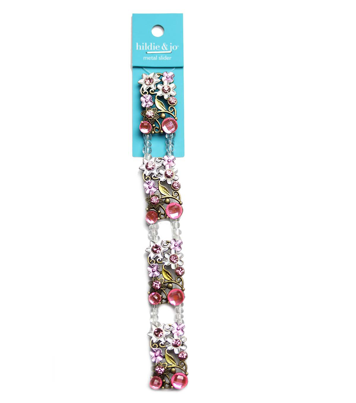 hildie & jo Strung Beads-Pink Flower Metal Slider