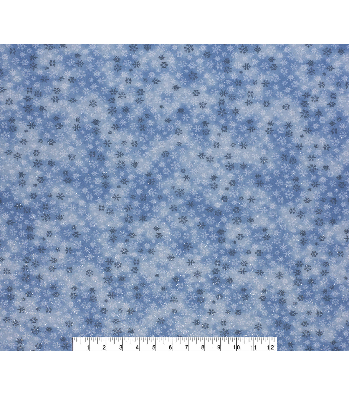 Christmas Cotton Fabric-Blue Glitter Snowflake