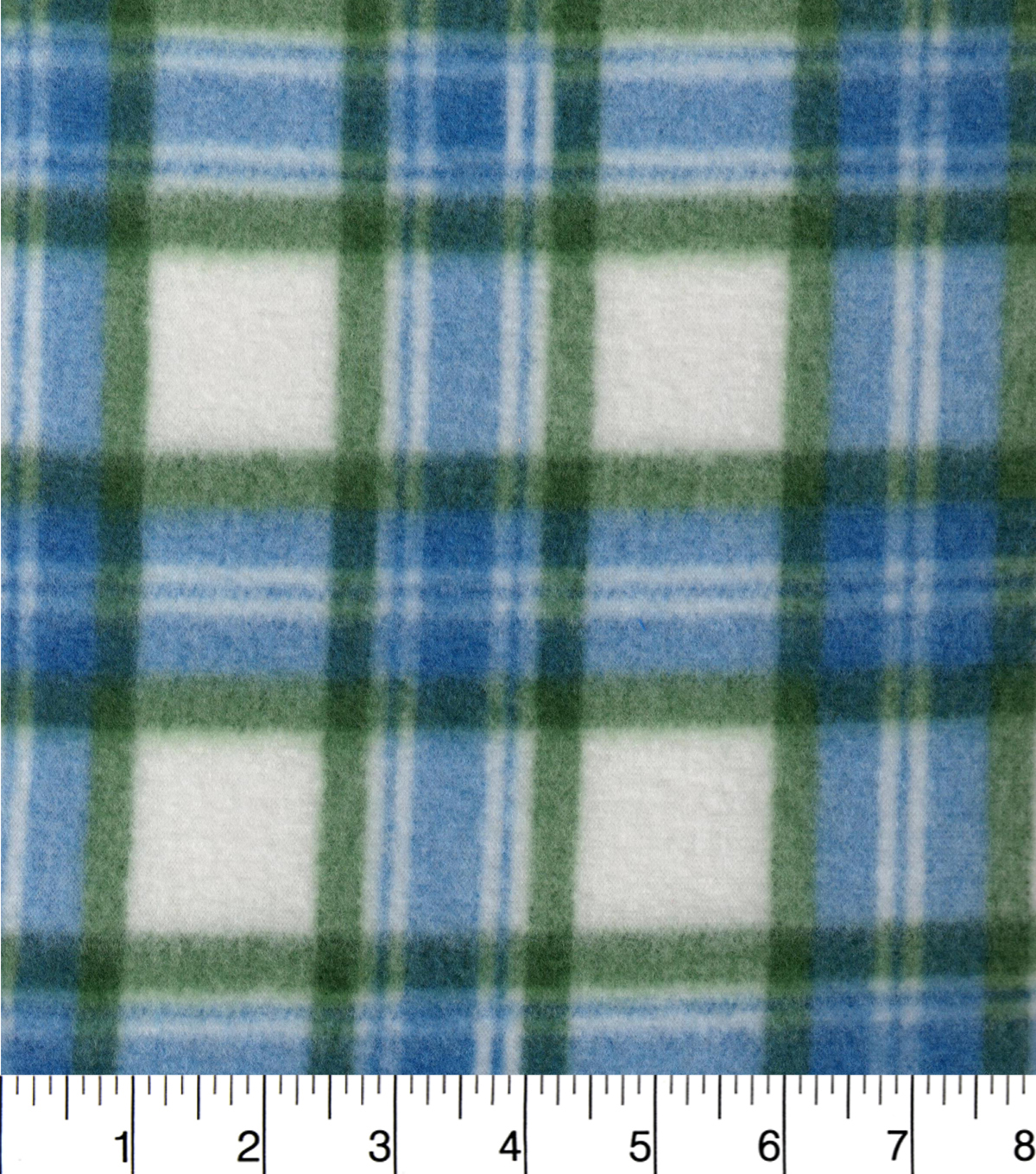 Blizzard Fleece Fabric 58\u0022-Blue Green White Plaid