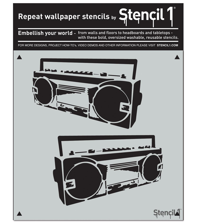 stencil1 11 x11 repeat wallpaper stencil boombox joann