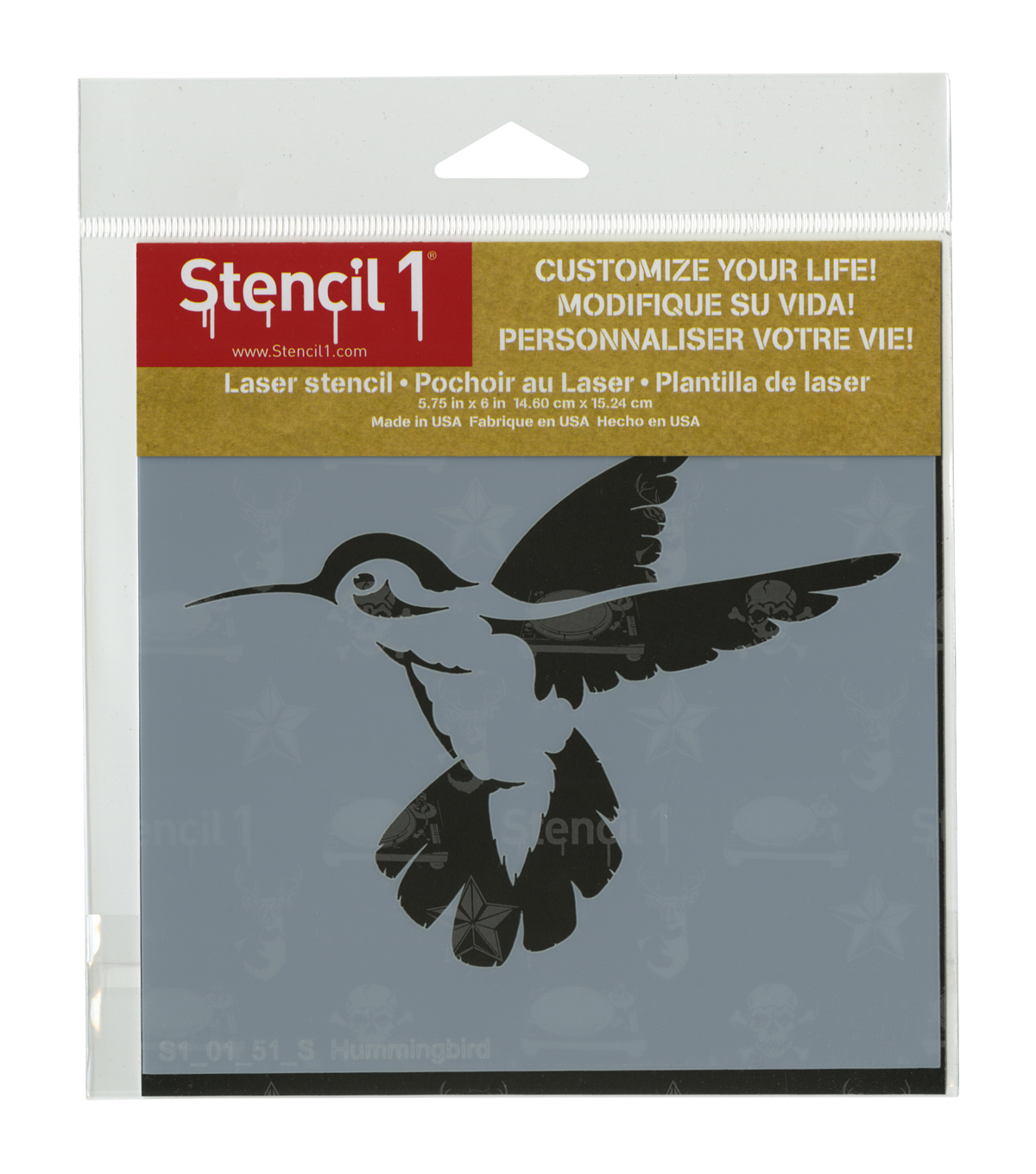 Stencil1 Customize Your Life! 5.75\u0027\u0027x6\u0027\u0027 Laser Stencil-Hummingbird