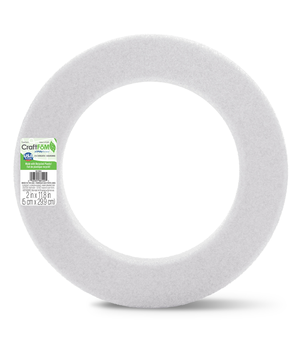 Floracraft Styrofoam Wreath 12\u0022X1-1/4\u0022 1Pk-White