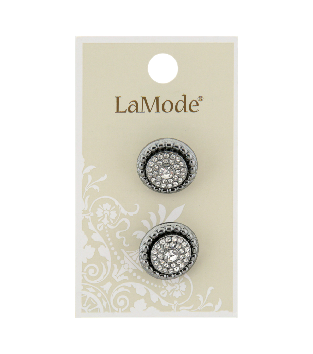 La Mode 2 pk 18 mm Gunmetal Shank Buttons with Clear Rhinestones