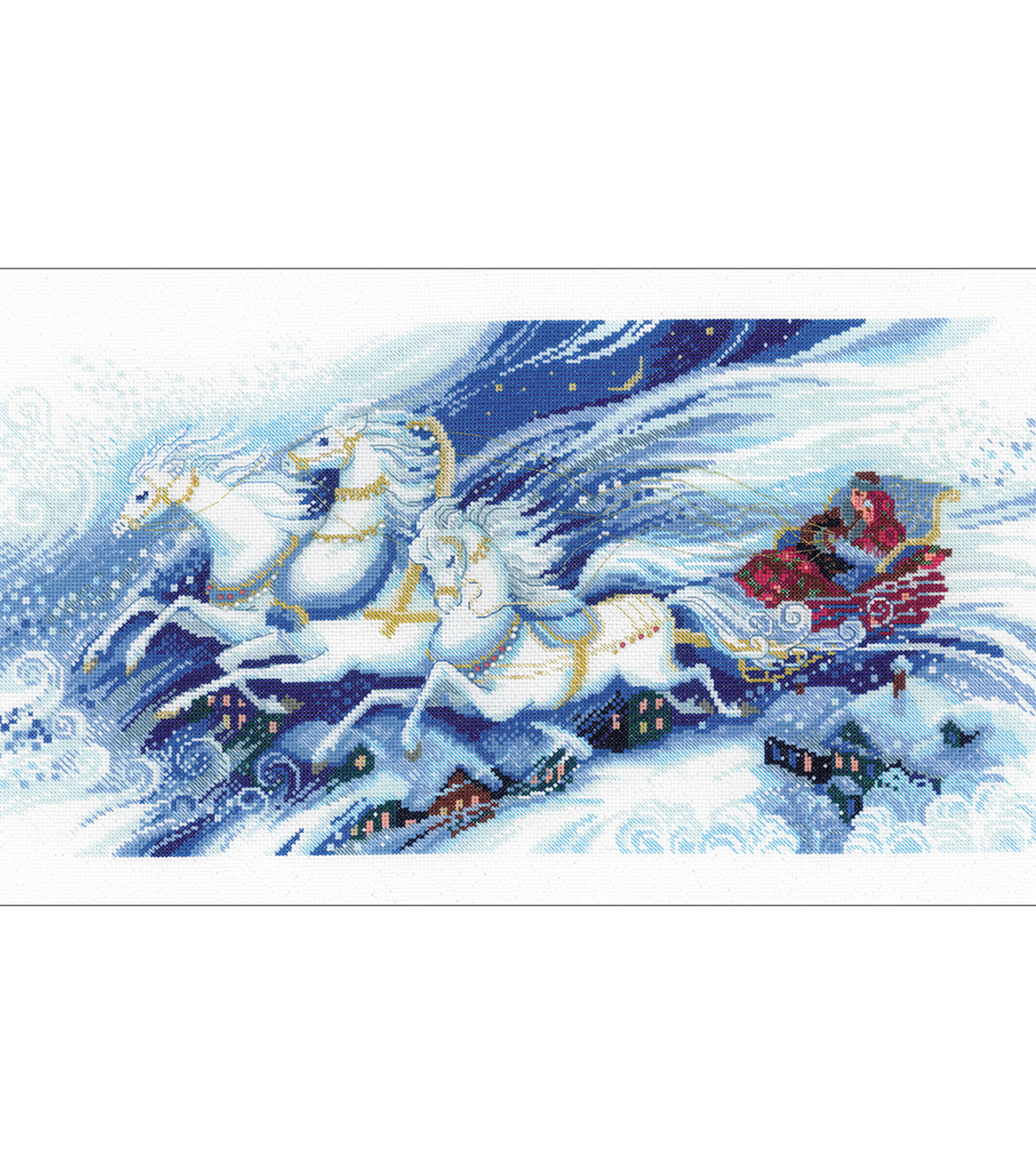 Magical Sleigh Ride Counted Cross Stitch Kit 14 Count