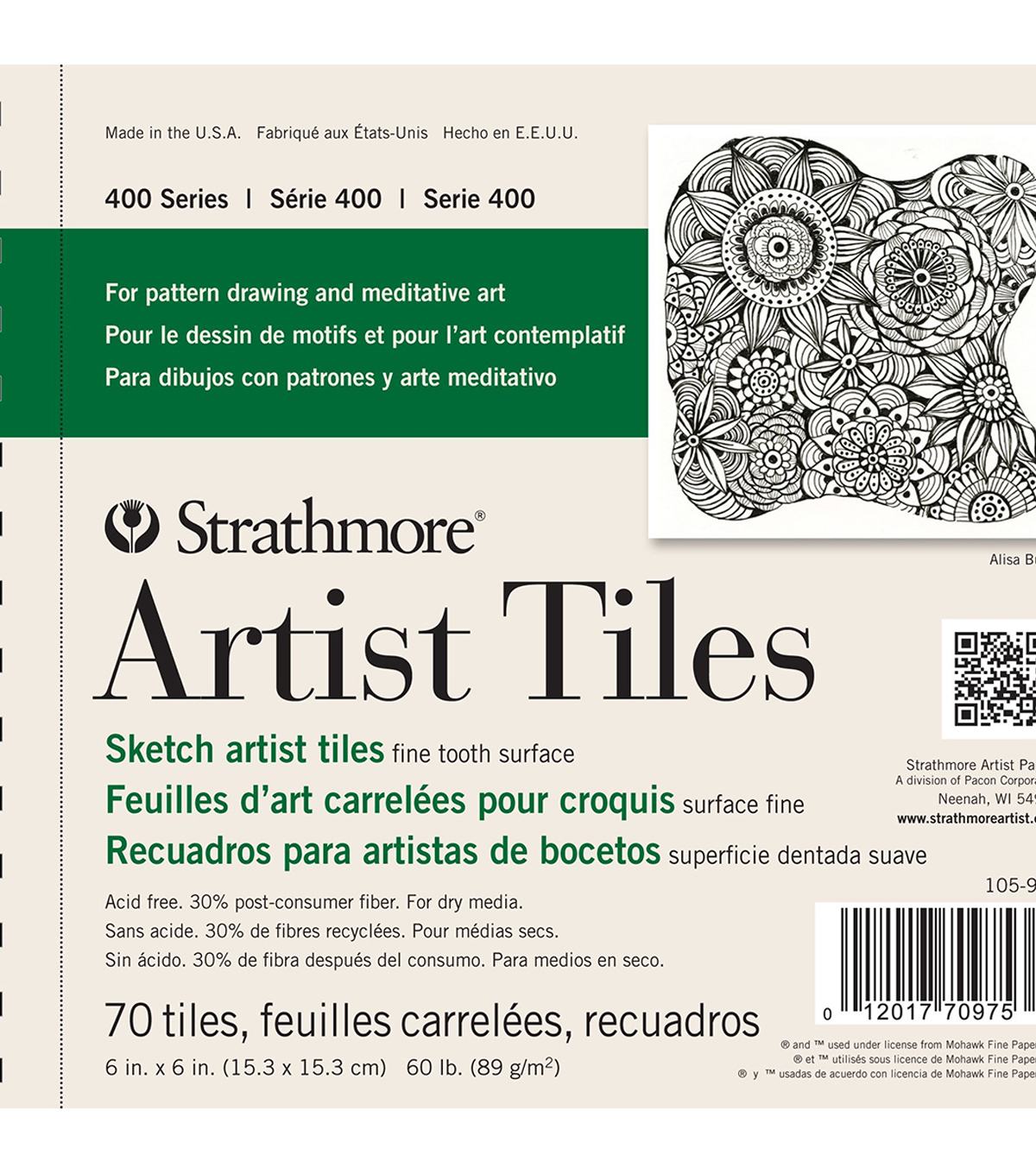 Strathmore 400 Series 70 pk Fine Tooth Surface Sketch Artist Tiles