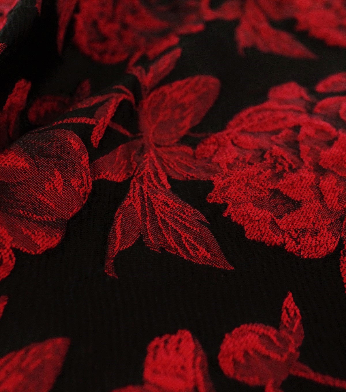 Jacquard Fabric-Red Floral