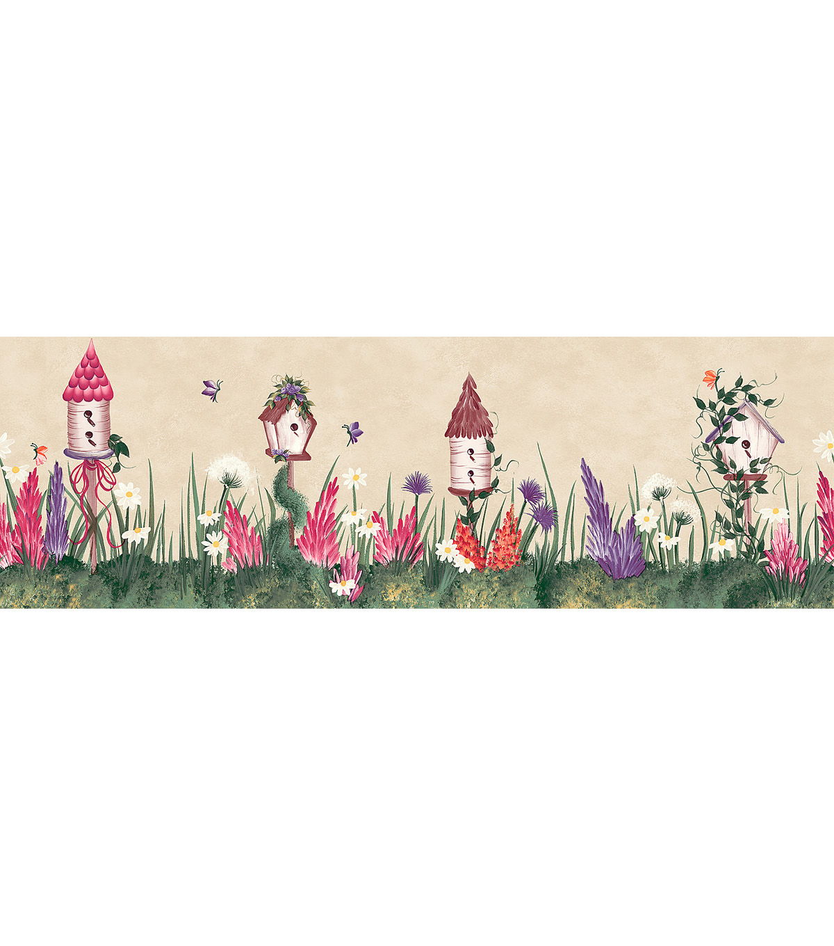 Bird House Floral Wallpaper Border, Multicolor Sample