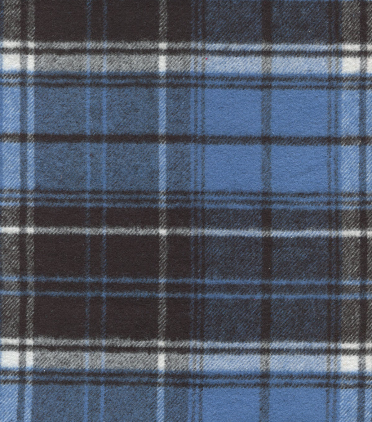 Plaid Brush Cotton Fabric -Navy, Blue & White