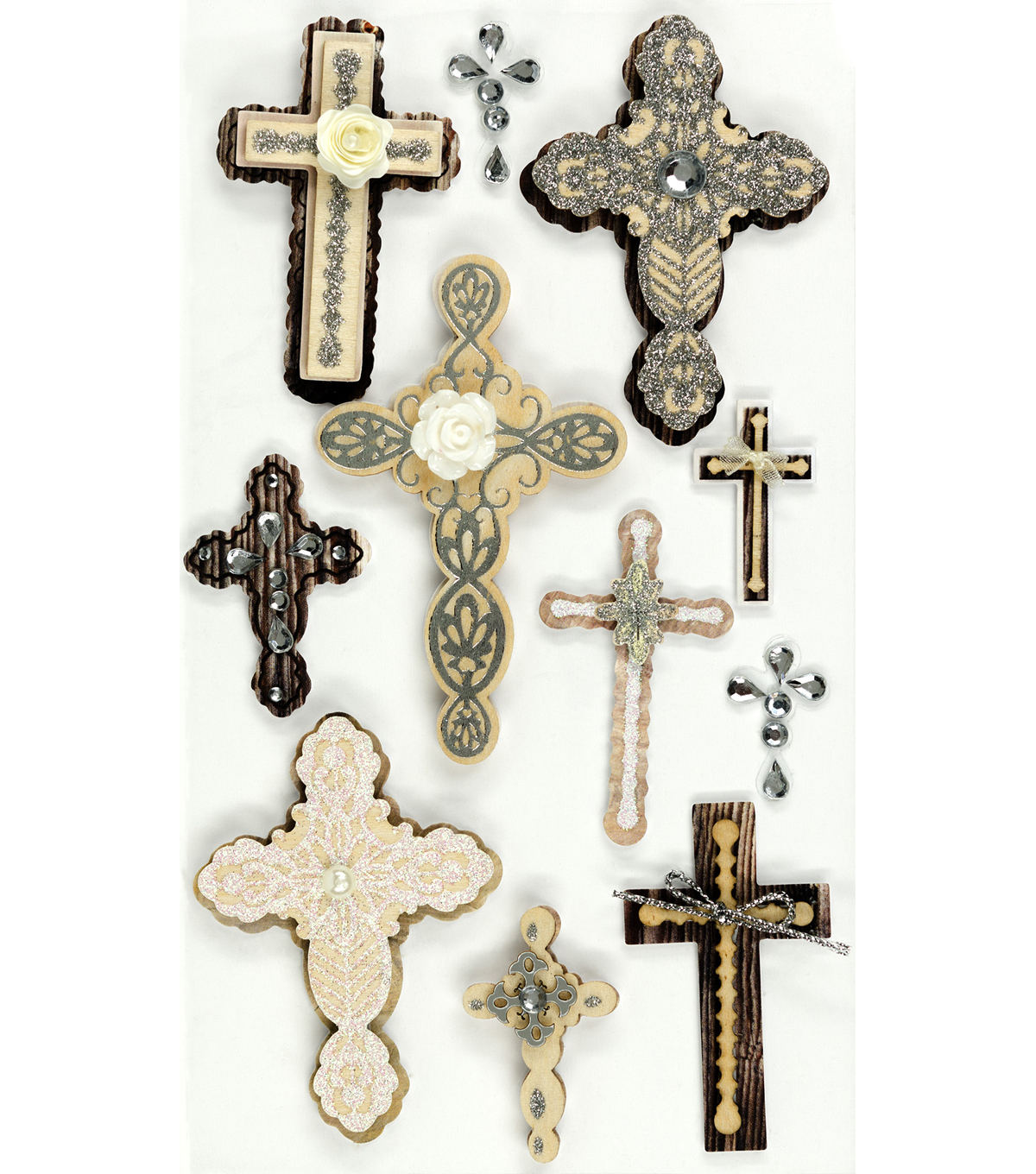 Jolee's Boutique Dimensional Stickers-Large Crosses