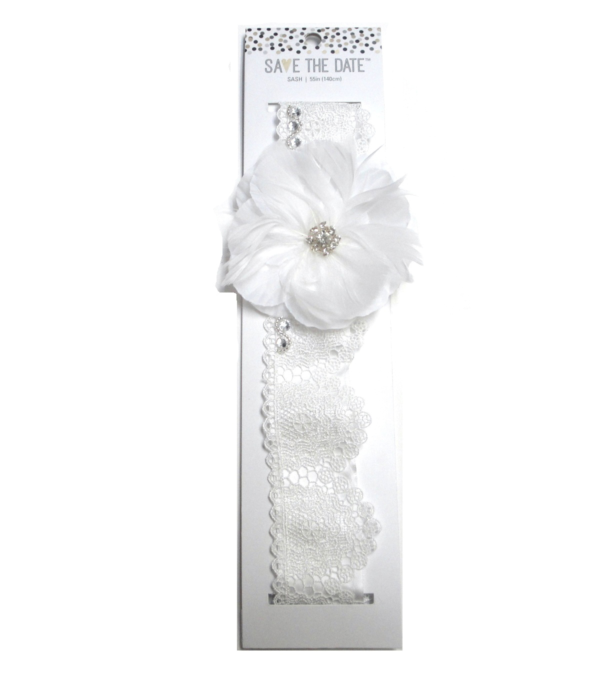Save The Date Lace Flower Beaded Sash-White