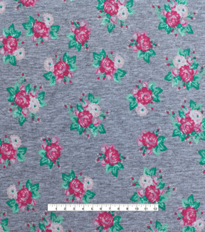 Doodles Juvenile Apparel Fabric  -Floral Bouquet on Gray Heather