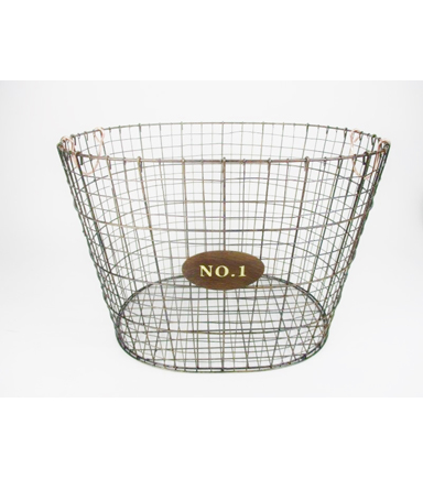 Farm Storage Oval Basket With Copper Colored Handles
